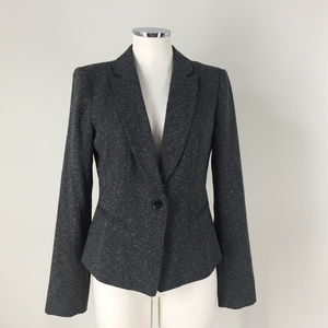 White House Black Market S 6 Gray Speckled Blazer
